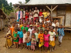 An extended family group in rural Madagascar.