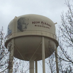 Faulkner adorns the newly-painted water tower in New Albany, MS.