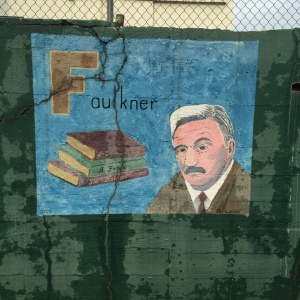 "In the alphabet mural, ""F is for Faulkner."""